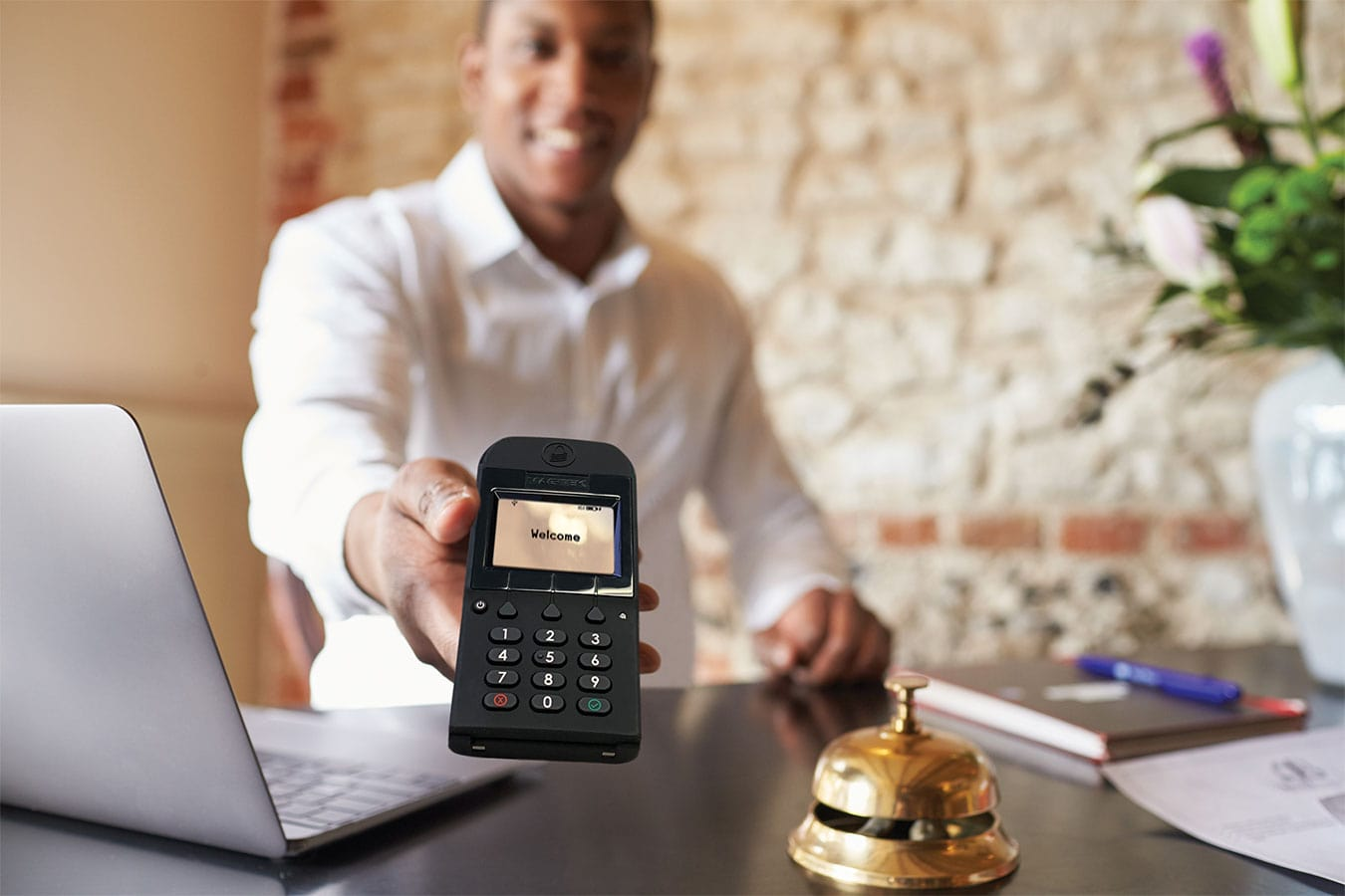 Hotel concierge and lobbies use the DynaPro Go card reader with PIN Pad for lodging payments