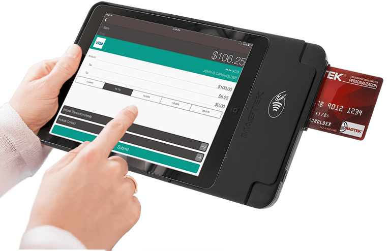 The kDynamo iOS tablet card reader works with EMV Chip, magnetic stripe, and NFC contactless transactions